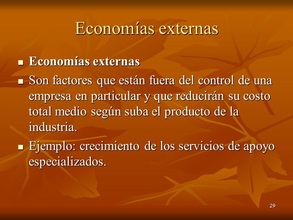29 Economías externas Economías externas Economías externas Son factores que están fuera del control de una empresa en particular y que reducirán su c