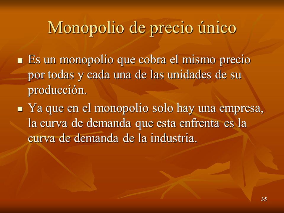35 Monopolio de precio único Es un monopolio que cobra el mismo precio por todas y cada una de las unidades de su producción. Es un monopolio que cobr