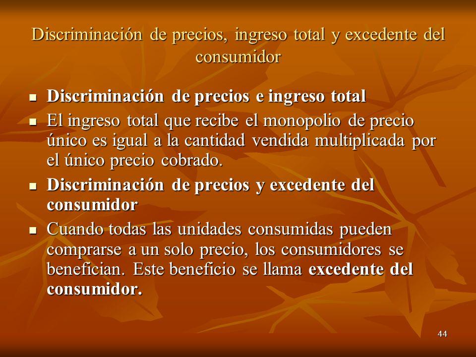 44 Discriminación de precios, ingreso total y excedente del consumidor Discriminación de precios e ingreso total Discriminación de precios e ingreso t