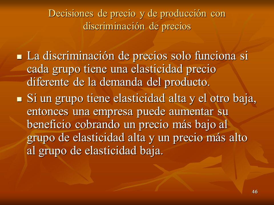 46 Decisiones de precio y de producción con discriminación de precios La discriminación de precios solo funciona si cada grupo tiene una elasticidad p