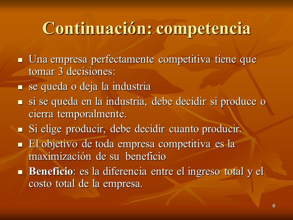 6 Continuación: competencia Una empresa perfectamente competitiva tiene que tomar 3 decisiones: Una empresa perfectamente competitiva tiene que tomar