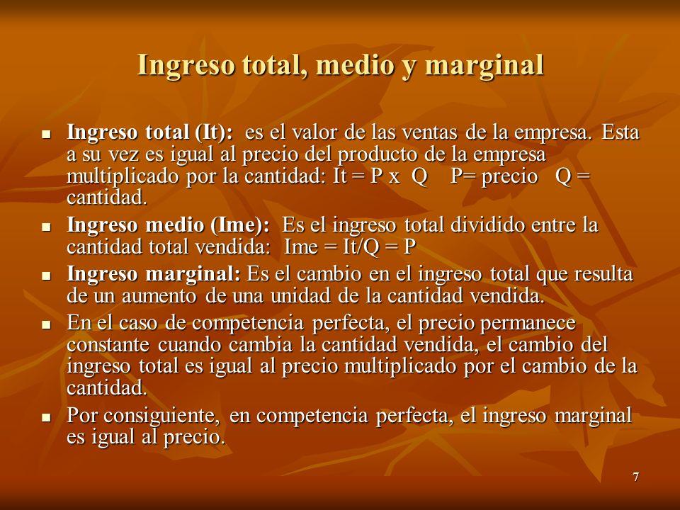 7 Ingreso total, medio y marginal Ingreso total (It): es el valor de las ventas de la empresa. Esta a su vez es igual al precio del producto de la emp