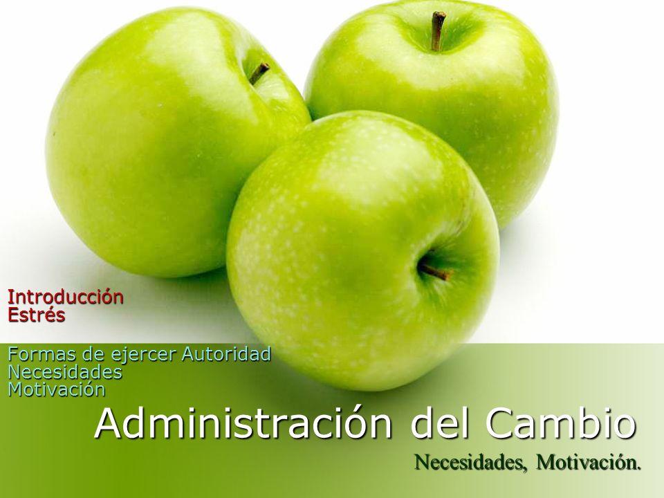 Administración del Cambio Introducción Estrés Formas de ejercer Autoridad Necesidades Motivación Formas de ejercer Autoridad Necesidades Motivación Ne