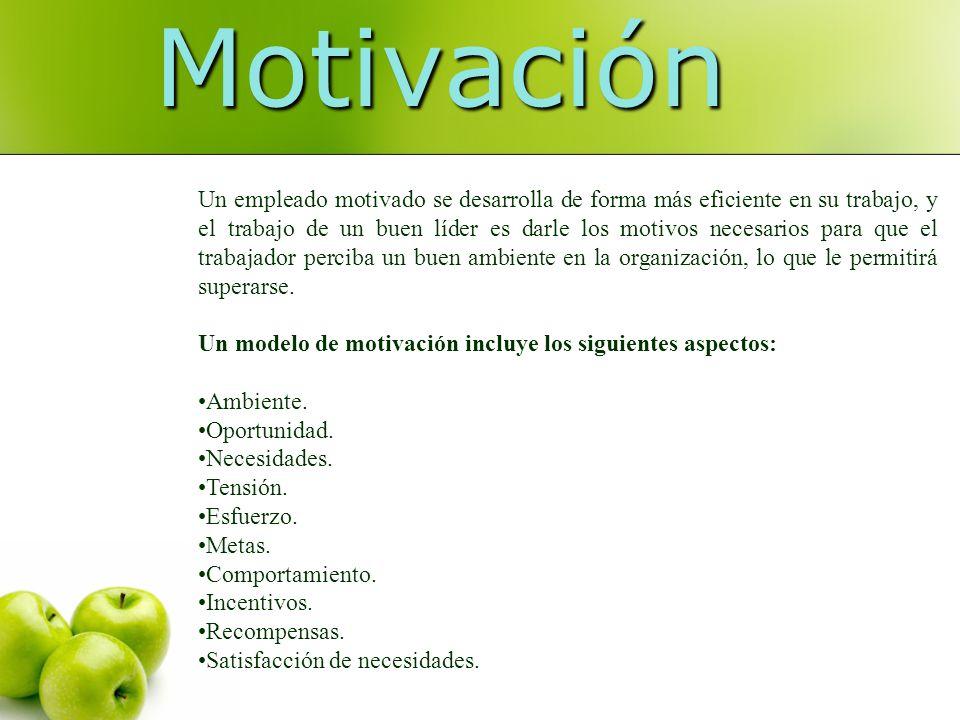 Motivación Un empleado motivado se desarrolla de forma más eficiente en su trabajo, y el trabajo de un buen líder es darle los motivos necesarios para
