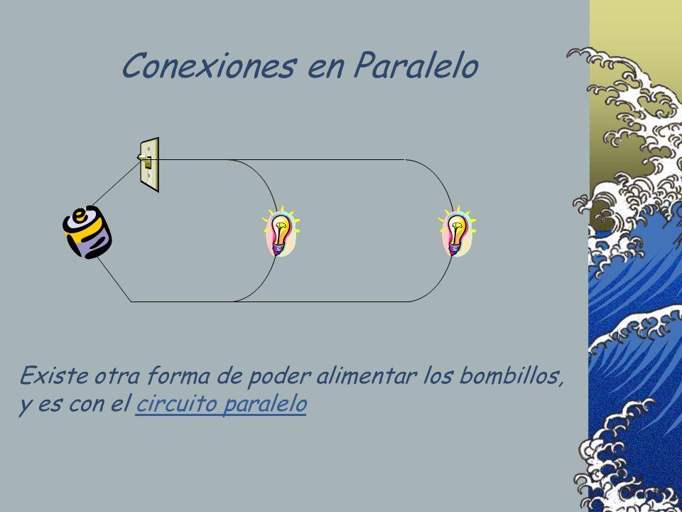 Existe otra forma de poder alimentar los bombillos, y es con el circuito paralelocircuito paralelo Conexiones en Paralelo