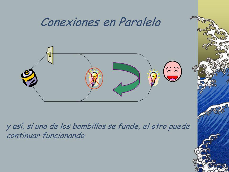 y así, si uno de los bombillos se funde, el otro puede continuar funcionando Conexiones en Paralelo