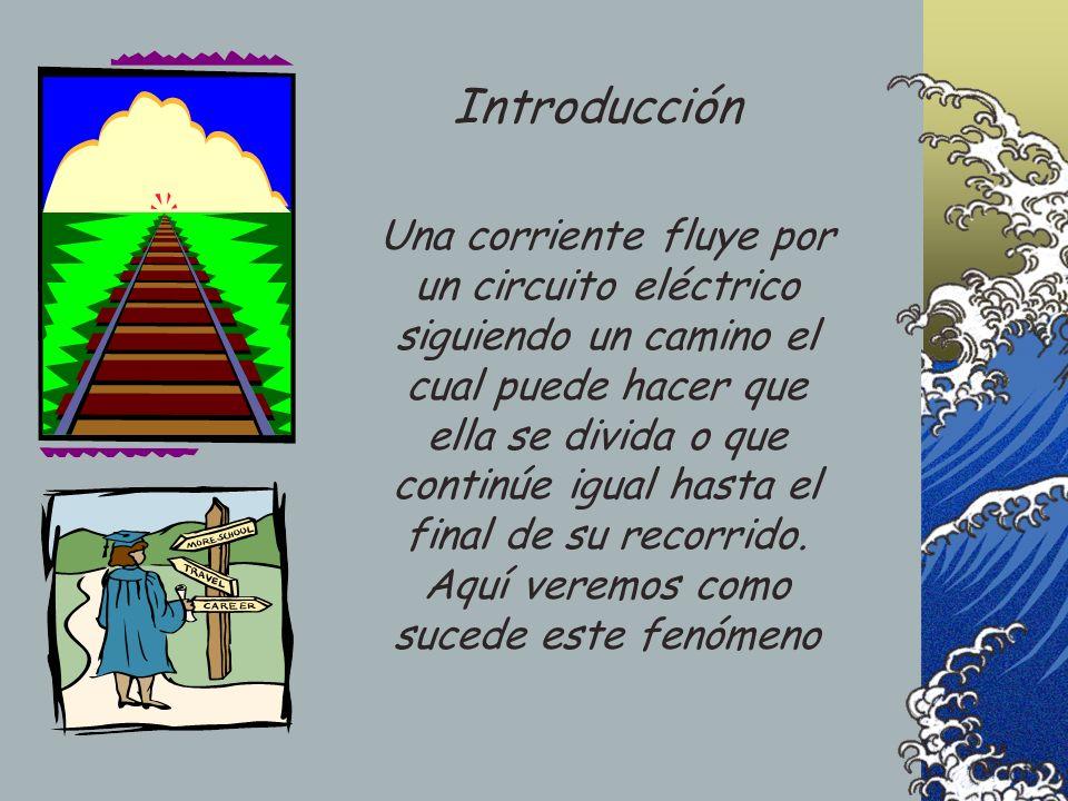 Una corriente fluye por un circuito eléctrico siguiendo un camino el cual puede hacer que ella se divida o que continúe igual hasta el final de su rec