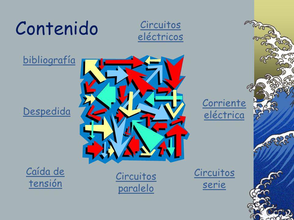 Contenido Circuitos eléctricos Circuitos serie Circuitos paralelo bibliografía Corriente eléctrica Caída de tensión Despedida