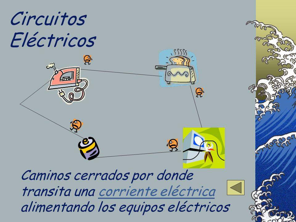 Circuitos Eléctricos Caminos cerrados por donde transita una corriente eléctrica alimentando los equipos eléctricoscorriente eléctrica