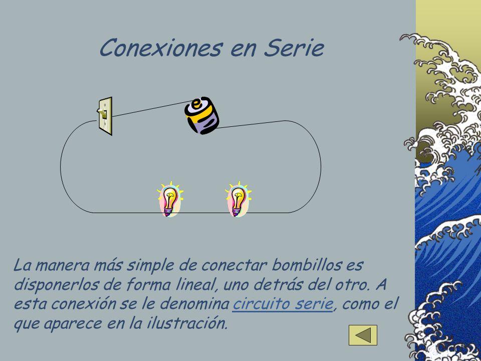 La manera más simple de conectar bombillos es disponerlos de forma lineal, uno detrás del otro. A esta conexión se le denomina circuito serie, como el