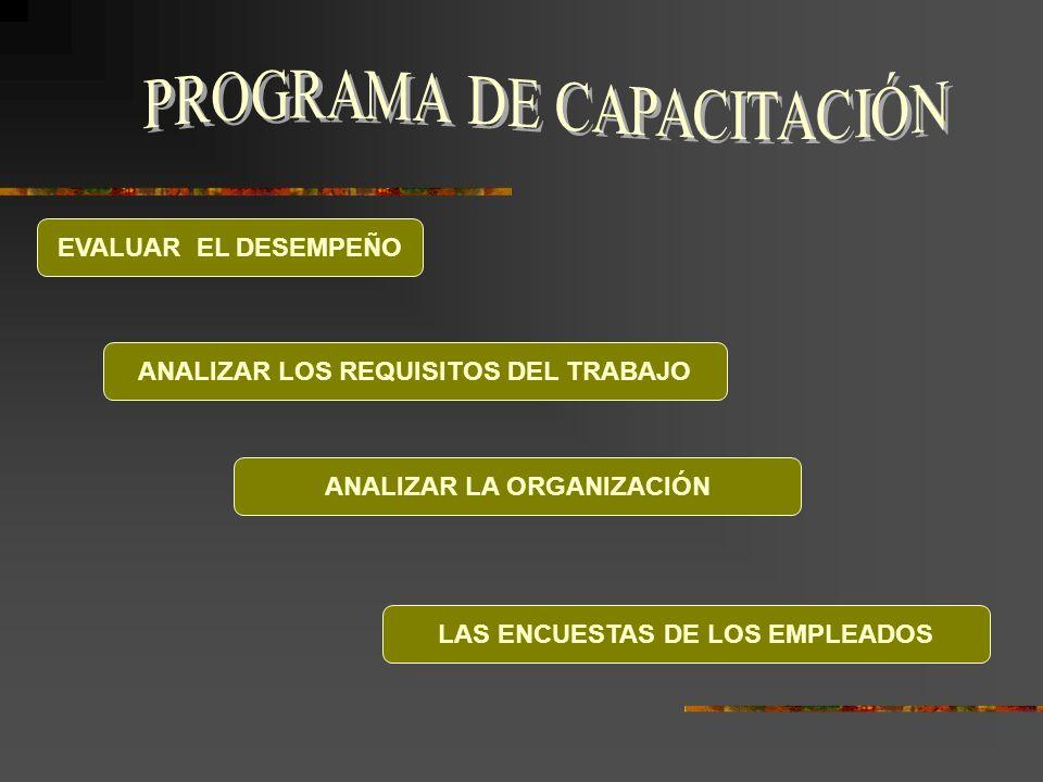 EVALUAR EL DESEMPEÑO ANALIZAR LOS REQUISITOS DEL TRABAJO ANALIZAR LA ORGANIZACIÓN LAS ENCUESTAS DE LOS EMPLEADOS