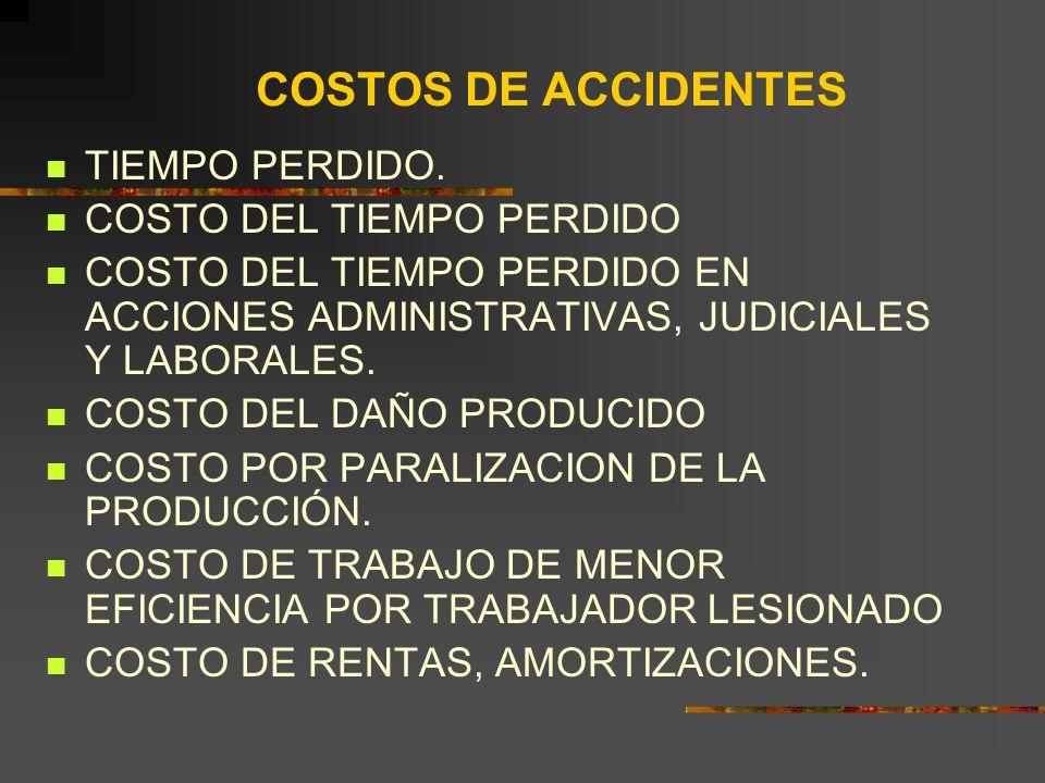 COSTOS DE ACCIDENTES TIEMPO PERDIDO.