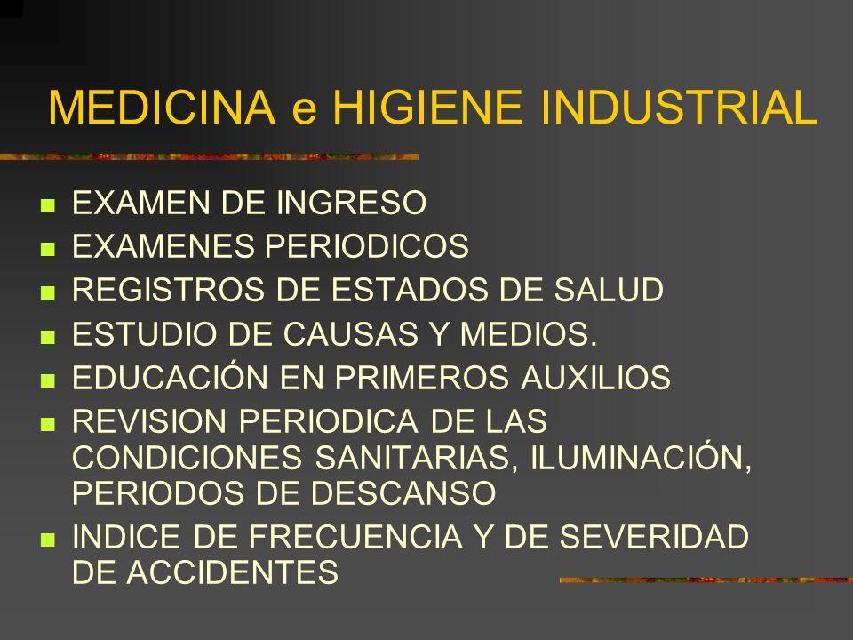 MEDICINA e HIGIENE INDUSTRIAL EXAMEN DE INGRESO EXAMENES PERIODICOS REGISTROS DE ESTADOS DE SALUD ESTUDIO DE CAUSAS Y MEDIOS.