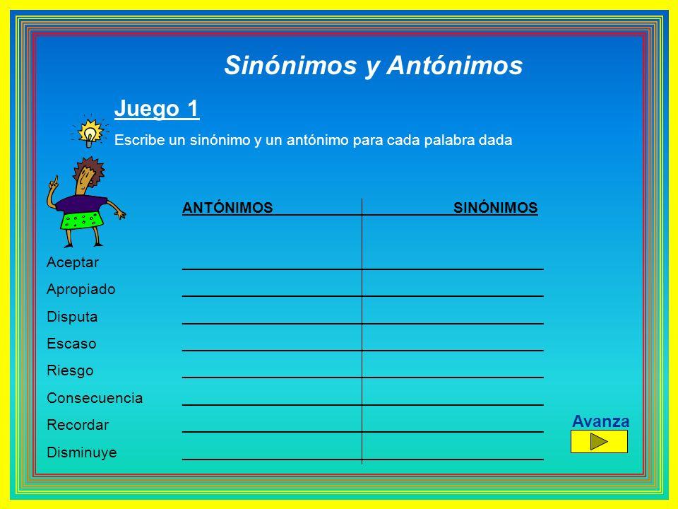 Sinónimos y Antónimos Juego 1 Escribe un sinónimo y un antónimo para cada palabra dada ANTÓNIMOS SINÓNIMOS Aceptar ___________________________________