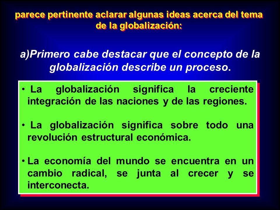 parece pertinente aclarar algunas ideas acerca del tema de la globalización: a)Primero cabe destacar que el concepto de la globalización describe un p