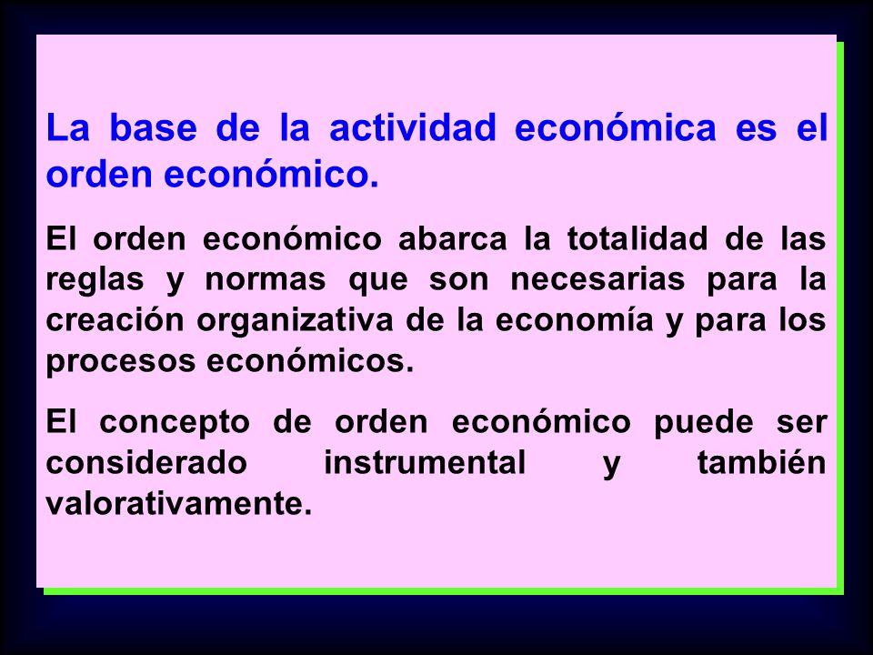 La base de la actividad económica es el orden económico. El orden económico abarca la totalidad de las reglas y normas que son necesarias para la crea