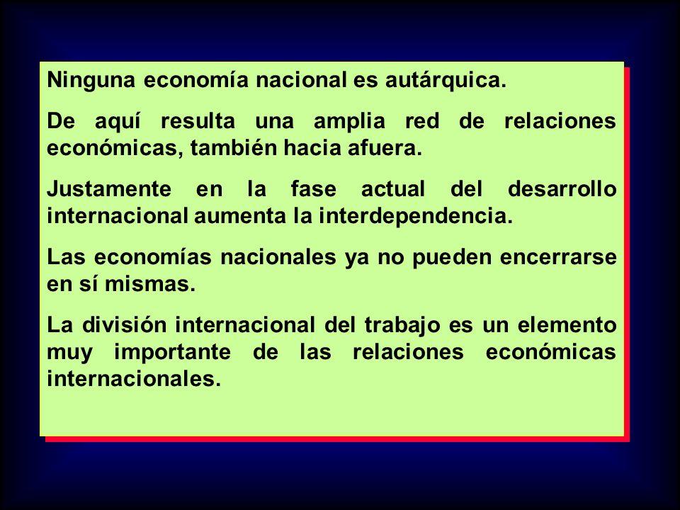 Ninguna economía nacional es autárquica. De aquí resulta una amplia red de relaciones económicas, también hacia afuera. Justamente en la fase actual d