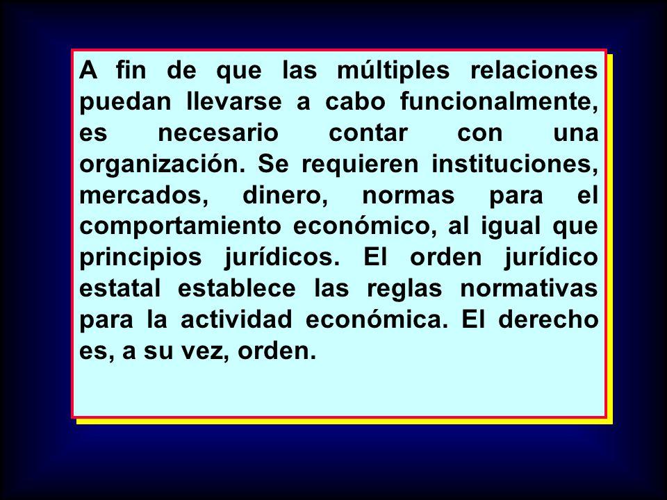 A fin de que las múltiples relaciones puedan llevarse a cabo funcionalmente, es necesario contar con una organización. Se requieren instituciones, mer