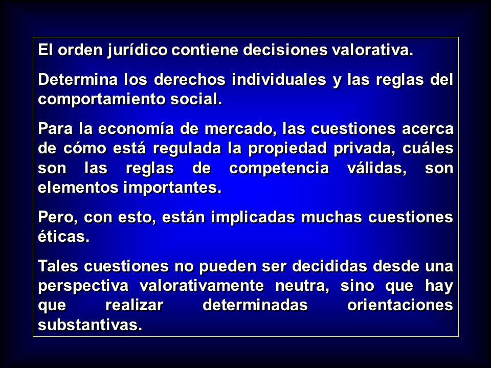 El orden jurídico contiene decisiones valorativa. Determina los derechos individuales y las reglas del comportamiento social. Para la economía de merc