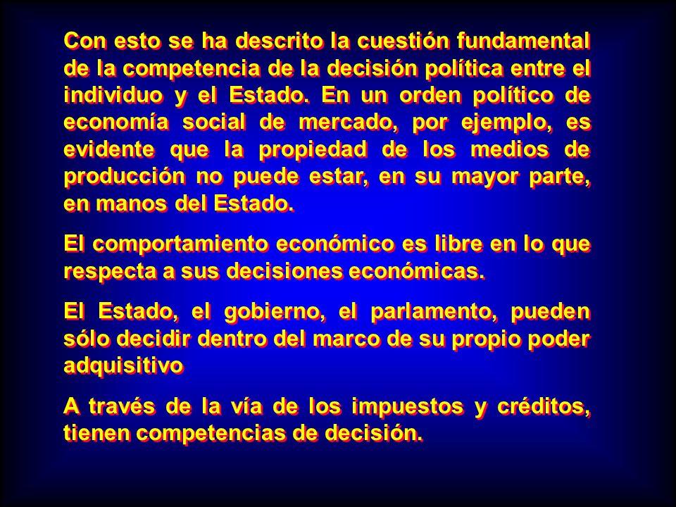 Con esto se ha descrito la cuestión fundamental de la competencia de la decisión política entre el individuo y el Estado. En un orden político de econ