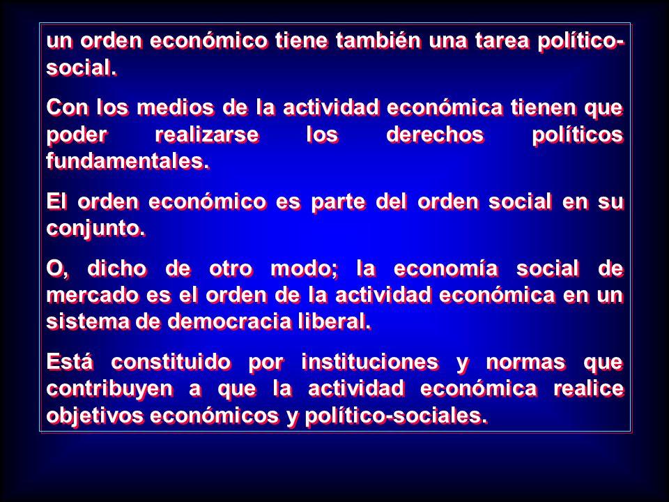 un orden económico tiene también una tarea político- social. Con los medios de la actividad económica tienen que poder realizarse los derechos polític