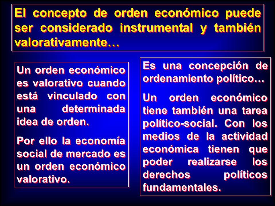 Un orden económico es valorativo cuando está vinculado con una determinada idea de orden. Por ello la economía social de mercado es un orden económico