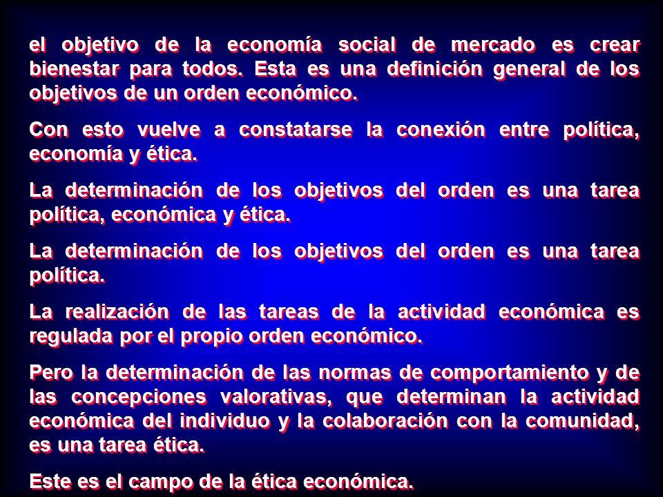 el objetivo de la economía social de mercado es crear bienestar para todos. Esta es una definición general de los objetivos de un orden económico. Con