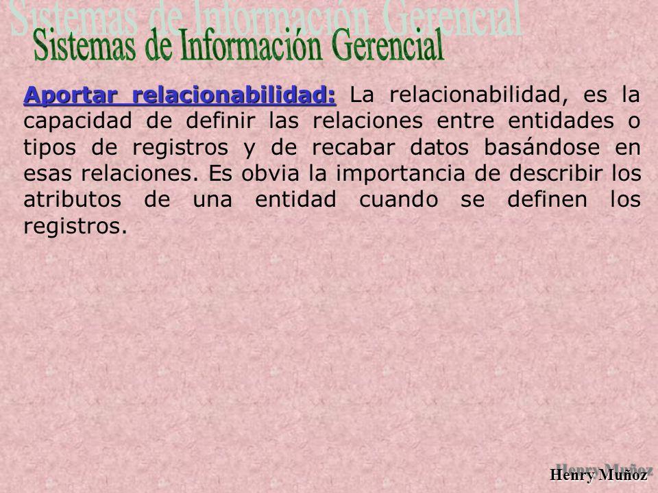 Henry Muñoz Aportar relacionabilidad: Aportar relacionabilidad: La relacionabilidad, es la capacidad de definir las relaciones entre entidades o tipos de registros y de recabar datos basándose en esas relaciones.