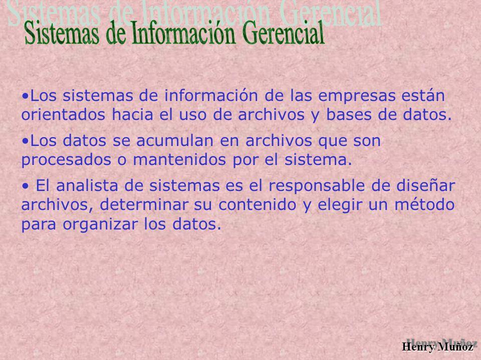 Henry Muñoz Los sistemas de información de las empresas están orientados hacia el uso de archivos y bases de datos.