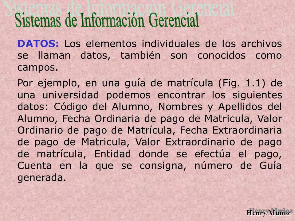 Henry Muñoz DATOS: Los elementos individuales de los archivos se llaman datos, también son conocidos como campos.
