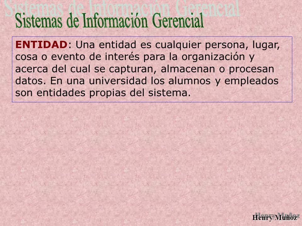Henry Muñoz ENTIDAD: Una entidad es cualquier persona, lugar, cosa o evento de interés para la organización y acerca del cual se capturan, almacenan o procesan datos.
