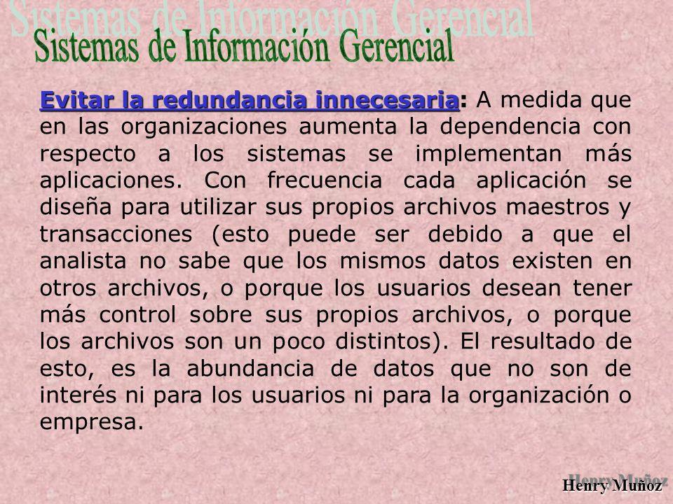 Henry Muñoz Proporcionar flexibilidad de acceso Frecuentemente los administradores y otros usuarios que solicitan información necesaria para la toma de decisiones suponen que pueden obtenerla porque saben que los datos se almacenan en una modalidad entendible para la computadora.