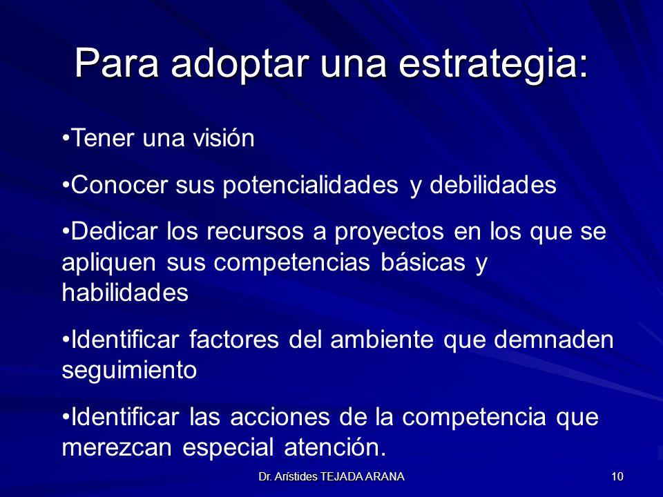 Dr. Arístides TEJADA ARANA 10 Para adoptar una estrategia: Tener una visión Conocer sus potencialidades y debilidades Dedicar los recursos a proyectos
