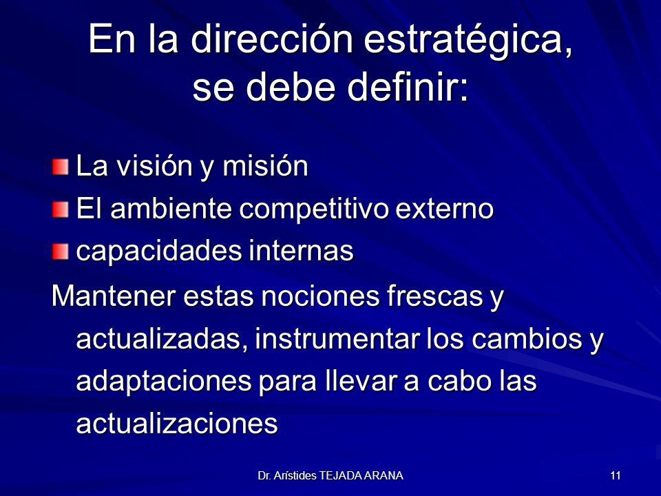 Dr. Arístides TEJADA ARANA 11 En la dirección estratégica, se debe definir: La visión y misión El ambiente competitivo externo capacidades internas Ma