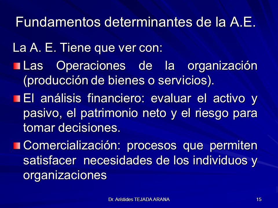Dr. Arístides TEJADA ARANA 15 Fundamentos determinantes de la A.E. La A. E. Tiene que ver con: Las Operaciones de la organización (producción de biene