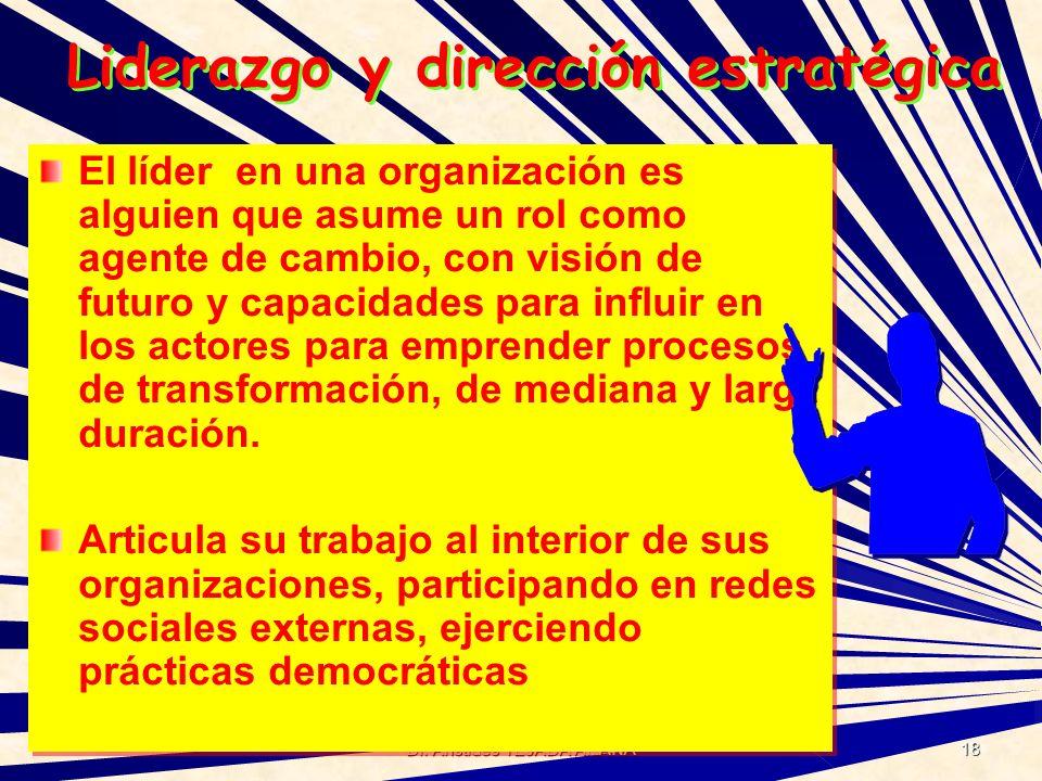 Dr. Arístides TEJADA ARANA 18 Liderazgo y dirección estratégica El líder en una organización es alguien que asume un rol como agente de cambio, con vi