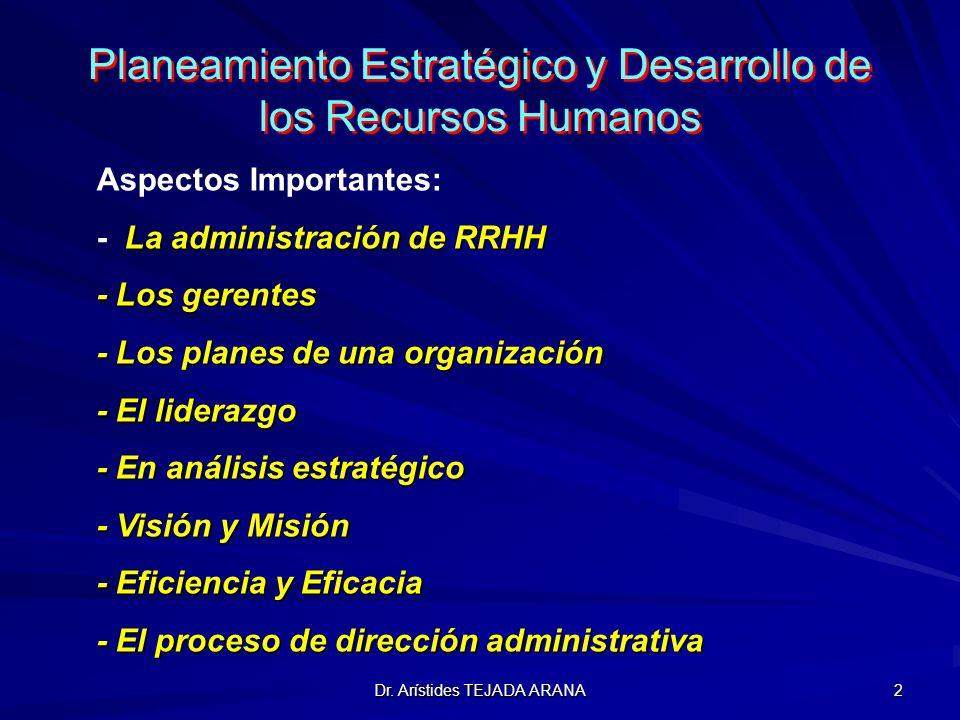 Dr. Arístides TEJADA ARANA 2 Planeamiento Estratégico y Desarrollo de los Recursos Humanos Aspectos Importantes: La administración de RRHH - La admini
