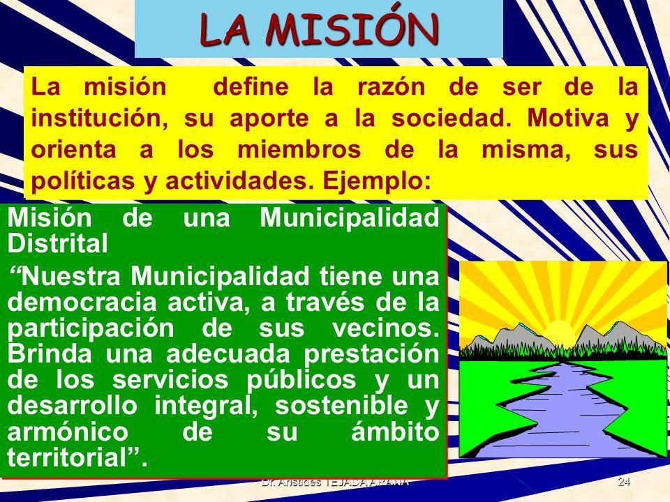 Dr. Arístides TEJADA ARANA 24 LA MISIÓN Misión de una Municipalidad Distrital Nuestra Municipalidad tiene una democracia activa, a través de la partic