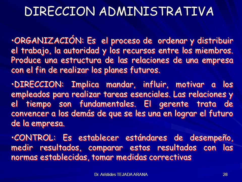 Dr. Arístides TEJADA ARANA 28 DIRECCION ADMINISTRATIVA ORGANIZACIÓN: Es el proceso de ordenar y distribuir el trabajo, la autoridad y los recursos ent