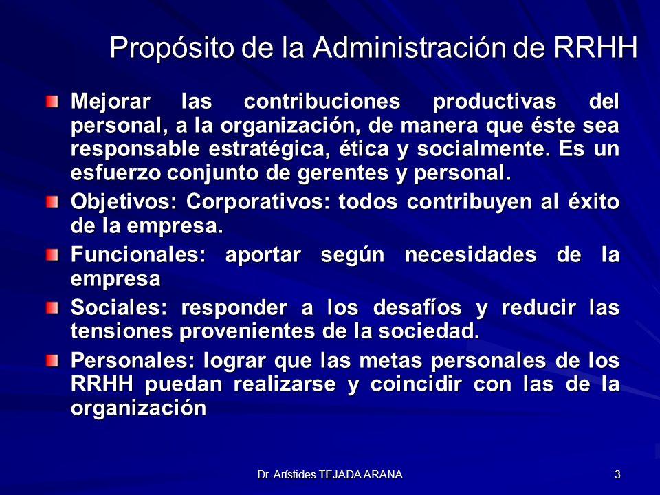 Dr. Arístides TEJADA ARANA 3 Propósito de la Administración de RRHH Mejorar las contribuciones productivas del personal, a la organización, de manera