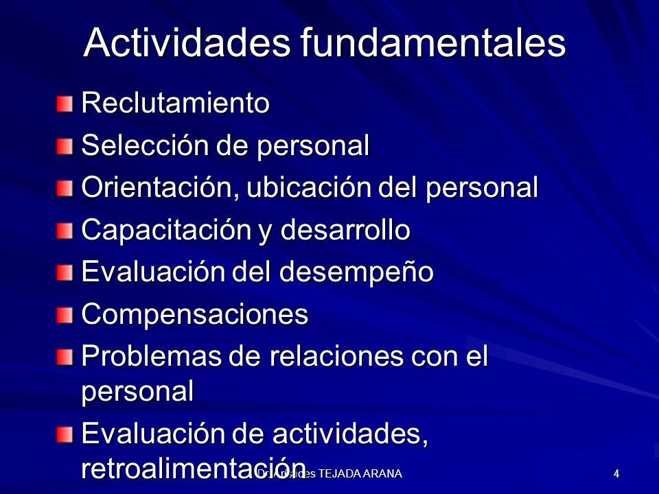 Dr. Arístides TEJADA ARANA 4 Actividades fundamentales Reclutamiento Selección de personal Orientación, ubicación del personal Capacitación y desarrol