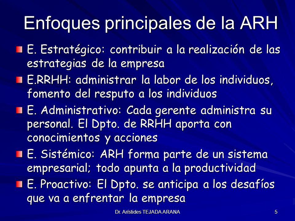 Dr. Arístides TEJADA ARANA 5 Enfoques principales de la ARH E. Estratégico: contribuir a la realización de las estrategias de la empresa E.RRHH: admin
