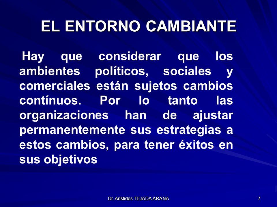 Dr. Arístides TEJADA ARANA 7 EL ENTORNO CAMBIANTE Hay que considerar que los ambientes políticos, sociales y comerciales están sujetos cambios contínu