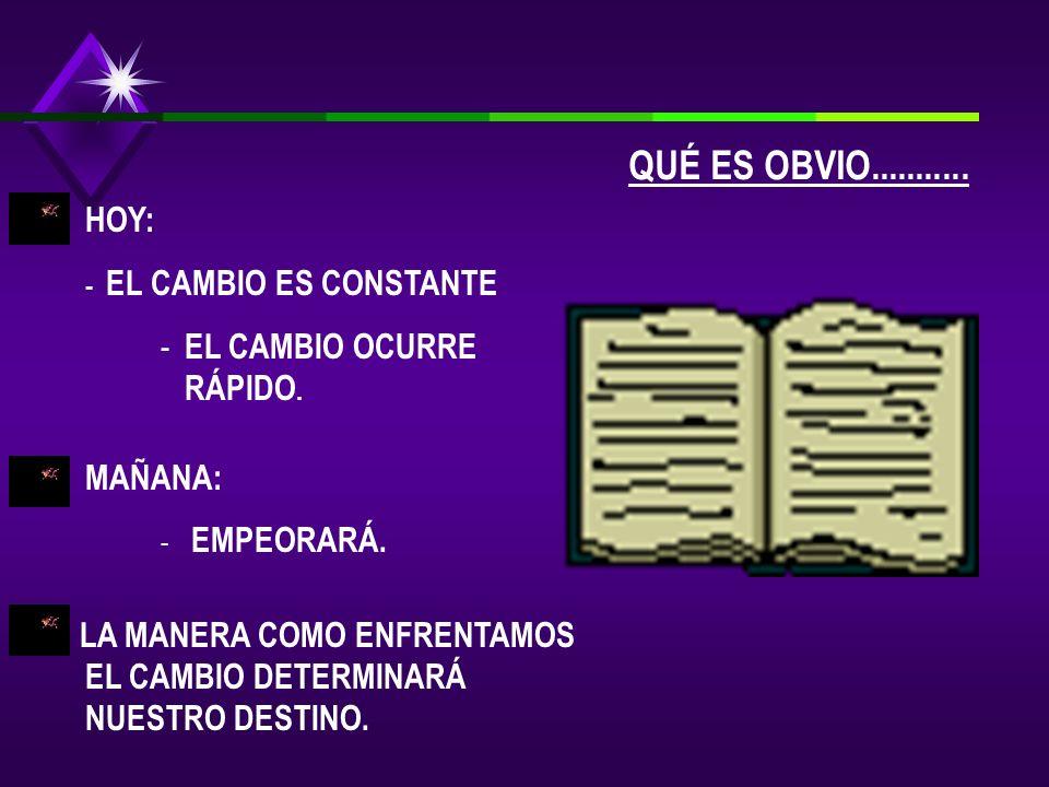 HOY: - EL CAMBIO ES CONSTANTE - EL CAMBIO OCURRE RÁPIDO.