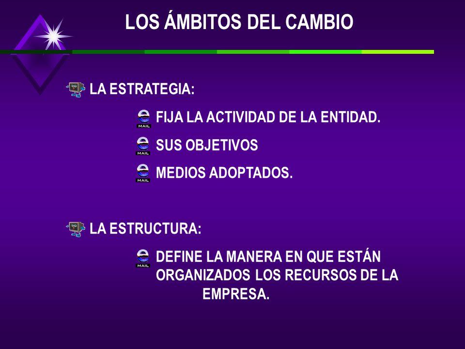 LOS ÁMBITOS DEL CAMBIO LA ESTRATEGIA: FIJA LA ACTIVIDAD DE LA ENTIDAD.