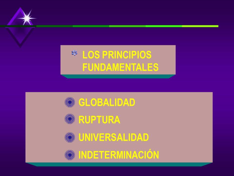 LOS PRINCIPIOS FUNDAMENTALES GLOBALIDAD RUPTURA UNIVERSALIDAD INDETERMINACIÓN