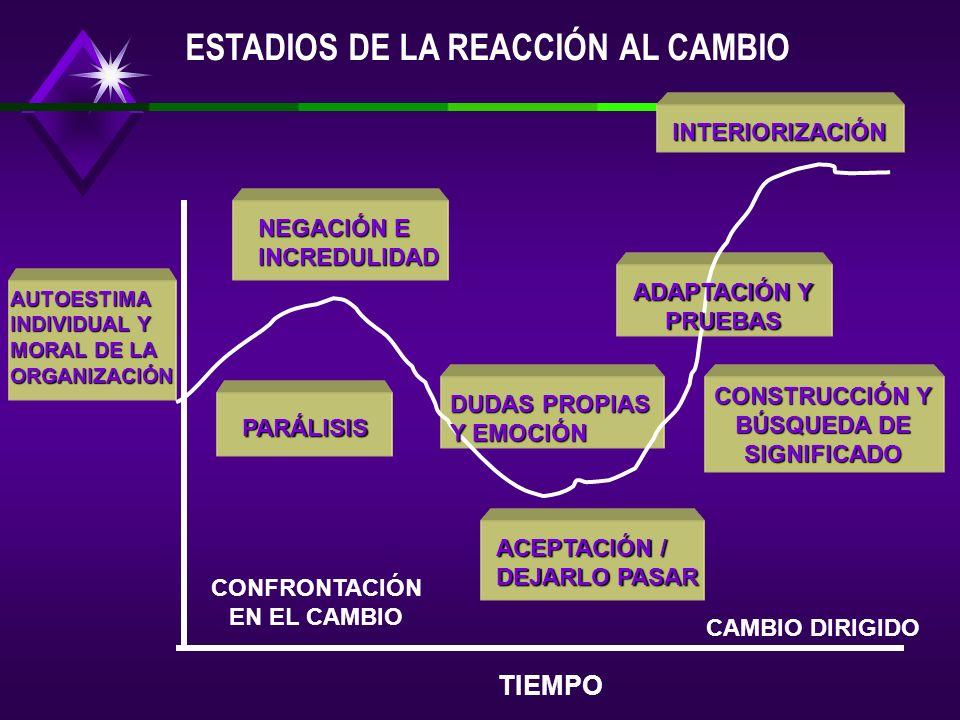 CONFRONTACIÓN EN EL CAMBIO CAMBIO DIRIGIDO ACEPTACIÓN / DEJARLO PASAR PARÁLISIS DUDAS PROPIAS Y EMOCIÓN CONSTRUCCIÓN Y BÚSQUEDA DE SIGNIFICADO ADAPTACIÓN Y PRUEBAS NEGACIÓN E INCREDULIDAD INTERIORIZACIÓN AUTOESTIMA INDIVIDUAL Y MORAL DE LA ORGANIZACIÓN TIEMPO ESTADIOS DE LA REACCIÓN AL CAMBIO
