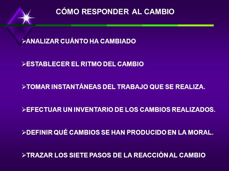 CÓMO RESPONDER AL CAMBIO ANALIZAR CUÁNTO HA CAMBIADO ESTABLECER EL RITMO DEL CAMBIO TOMAR INSTANTÁNEAS DEL TRABAJO QUE SE REALIZA.