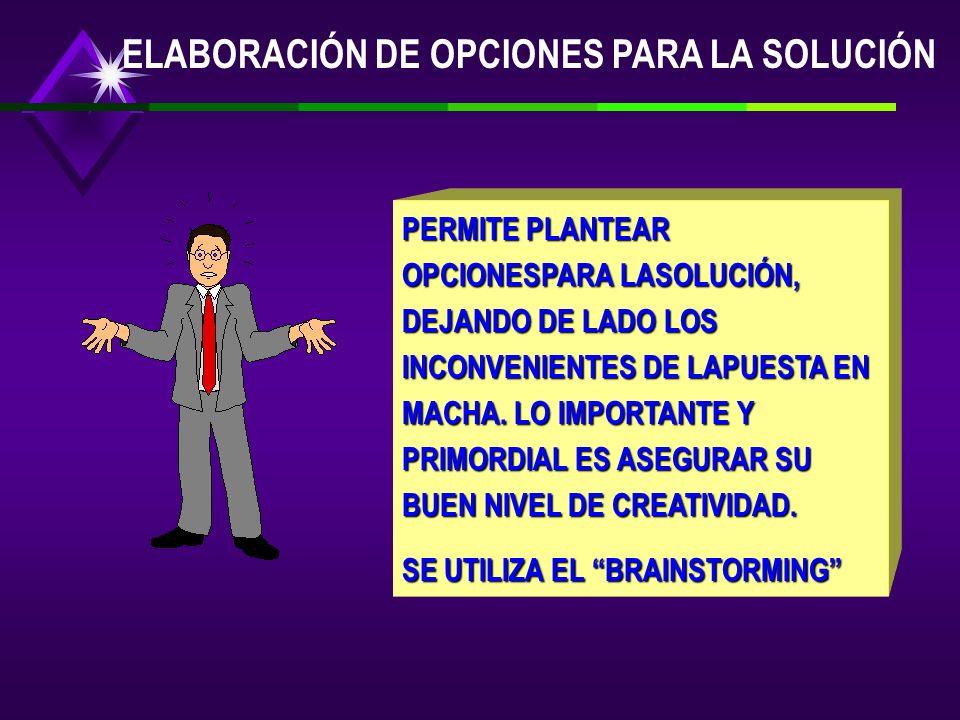 ELABORACIÓN DE OPCIONES PARA LA SOLUCIÓN PERMITE PLANTEAR OPCIONESPARA LASOLUCIÓN, DEJANDO DE LADO LOS INCONVENIENTES DE LAPUESTA EN MACHA.