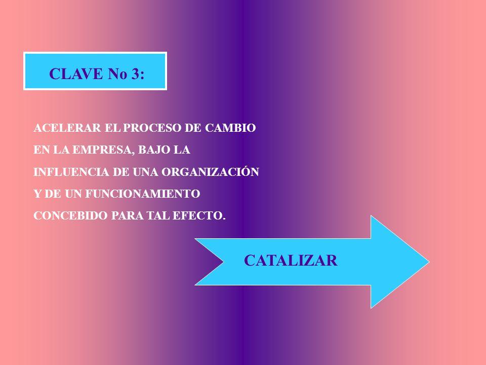 CLAVE No 3: ACELERAR EL PROCESO DE CAMBIO EN LA EMPRESA, BAJO LA INFLUENCIA DE UNA ORGANIZACIÓN Y DE UN FUNCIONAMIENTO CONCEBIDO PARA TAL EFECTO.
